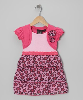 Pink Leopard Heat Tiered Dress - Toddler