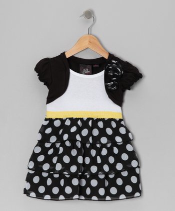 Black & White Polka Dot Ruffle Dress - Toddler