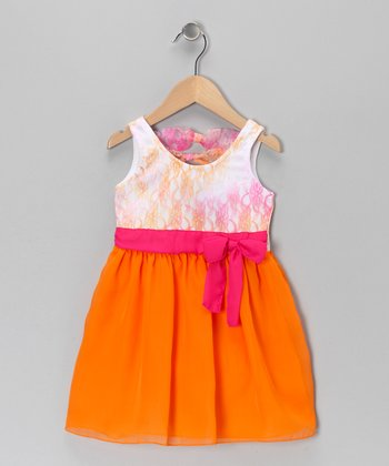 Pink & Orange Bow Dress - Toddler & Girls
