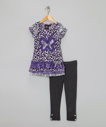 Purple Shimmer Butterfly Tunic & Black Leggings - Girls
