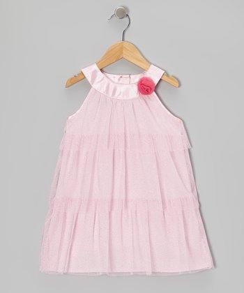 Pink Cream Glitter Tiered Tulle Yolk Dress - Toddler & Girls