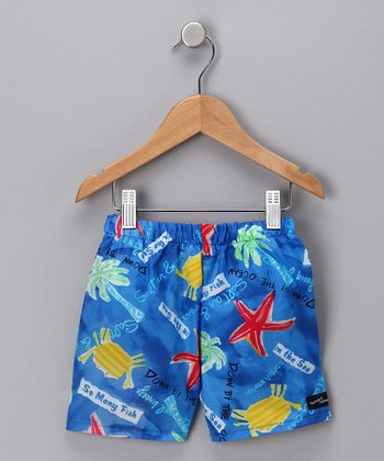 Blue Fish Swim Trunks - Toddler & Boys