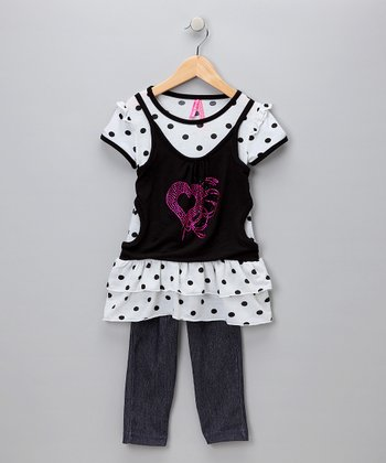 Black Polka Dot Tiered Top & Denim Leggings