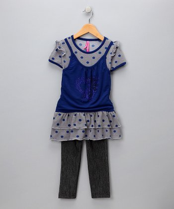 Navy Polka Dot Tiered Top & Denim Leggings