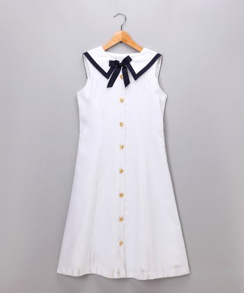White Nautical Dress - Girls