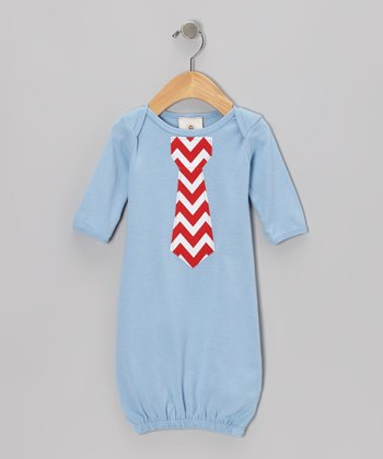 Baby Blue & Red Chevron Tie Gown - Infant