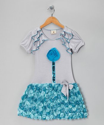 Blueberry Lollipop Bubble Drop-Waist Dress - Girls