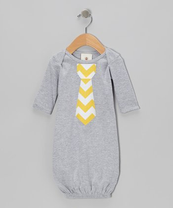 Heather Gray & Yellow Zigzag Tie Gown - Infant