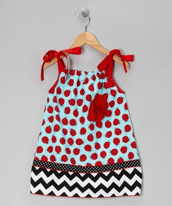 Red & Blue Ladybug Dress - Infant, Toddler & Girls