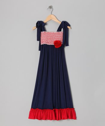 Million Polkadots Red Chevron & Navy Maxi Dress - Girls