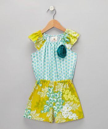 Green & Blue Victoria Romper - Girls