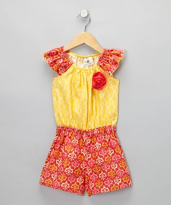 Yellow & Coral Alyssa Romper - Toddler & Girls