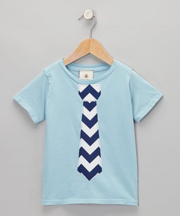Million Polkadots Blue & Navy Zigzag Tie Tee - Infant, Toddler & Boys