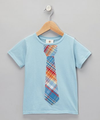 Million Polkadots Blue & Orange Plaid Tie Tee - Infant, Toddler & Boys