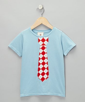 Blue & Red Argyle Tie Tee - Infant, Toddler & Boys