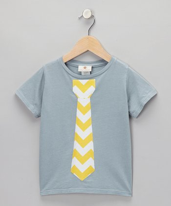 Gray & Yellow Zigzag Tie Tee - Infant, Toddler & Boys