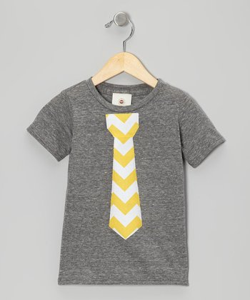Dark Gray & Yellow Zigzag Tie Tee - Toddler & Boys