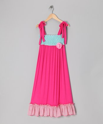 Fuchsia & Turquoise Maxi Dress - Girls