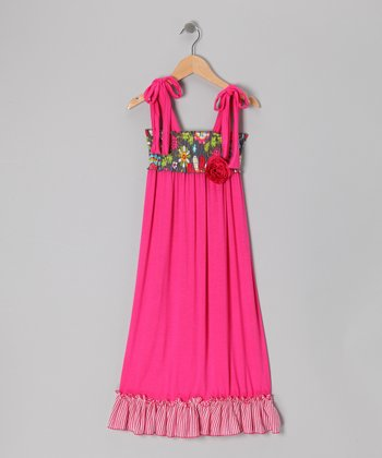 Fuchsia Wildflower Maxi Dress - Girls