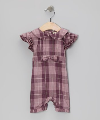 Purple Plaid Collar Organic Romper - Infant