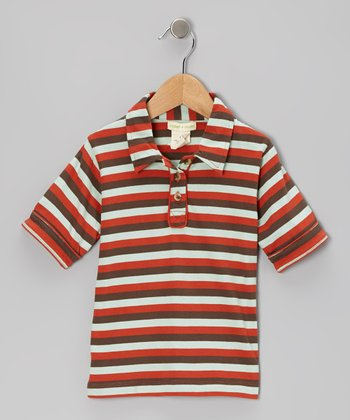 Orange Tri-Stripe Organic Polo - Infant