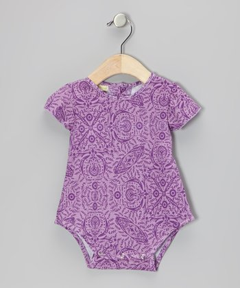 Purple Parlor Organic Angel-Sleeve Bubble Bodysuit - Infant