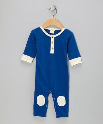 Blue Knee Patch Organic Henley Playsuit - Infant