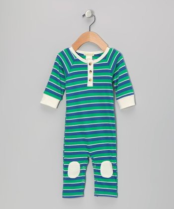 Green & Blue Stripe Knee Patch Organic Henley Playsuit - Infant