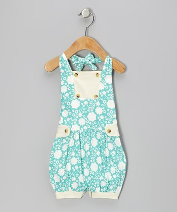 Teal Floral Organic Halter Bubble Romper - Infant