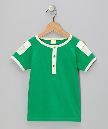 Green Pocket Organic Henley - Infant & Toddler