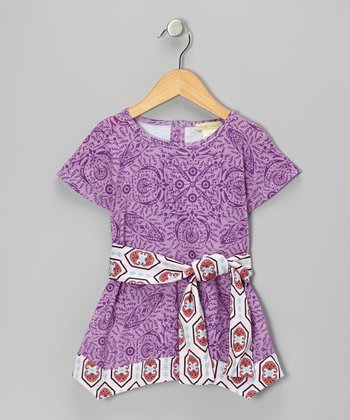 Purple Parlor Bow Organic Tunic - Infant & Toddler