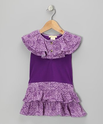 Purple Parlor Ruffle Organic Yoke Top - Infant & Toddler