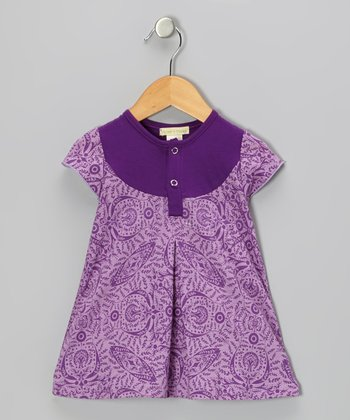 Purple Parlor Pleated Organic Henley Dress - Toddler & Girls