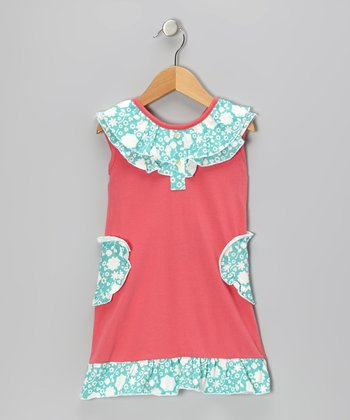 Pink & Teal Ruffle Organic Yoke Dress - Infant & Toddler