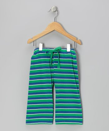 Green & Blue Stripe Organic Pants - Infant