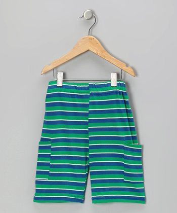 Green & Blue Stripe Organic Cargo Shorts - Infant, Toddler & Kids