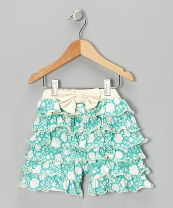 Teal Floral Ruffle Bow Organic Shorts - Infant, Toddler & Girls