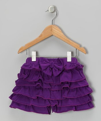 Dark Purple Ruffle Bow Organic Shorts - Infant, Toddler & Girls