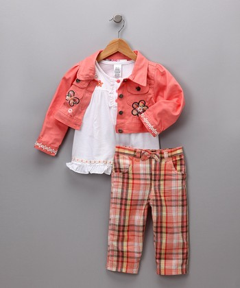 Peach & White Jacket Set - Toddler