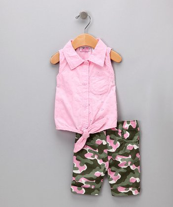 Pink Tank & Camo Shorts - Toddler