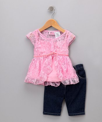 Pink Lace Layered Top & Jeans - Toddler