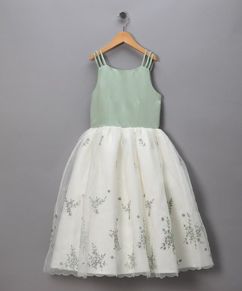Sage & Ivory Chiffon Pageant Dress