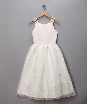 Pink & Ivory Chiffon Pageant Dress
