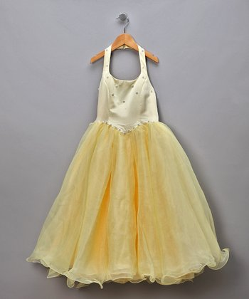 Yellow Chiffon & Rhinestone Halter Pageant Dress