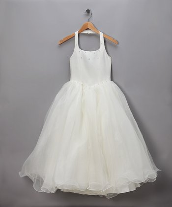 Ivory Chiffon & Rhinestone Halter Pageant Dress