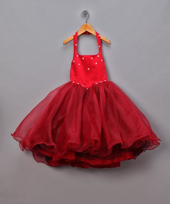 Red Chiffon & Rhinestone Halter Pageant Dress