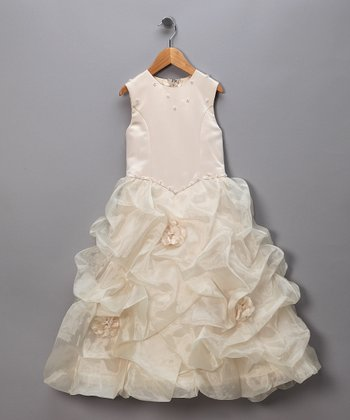 Antique White Rhinestone Pageant Dress