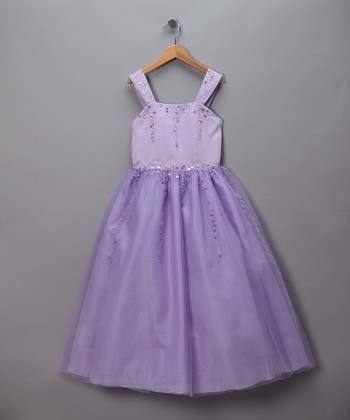 Lilac Sequined Tulle Pageant Dress