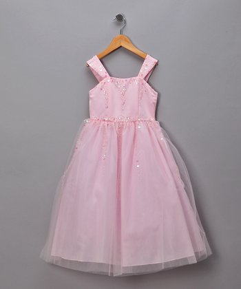 Pink Sequined Tulle Dress - Girls