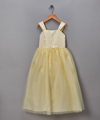 Yellow Sequined Tulle Pageant Dress